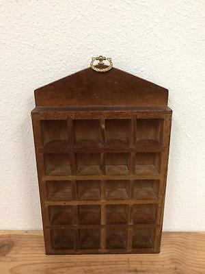 Vintage Wood Wall Hanging With Ring ~ Thimble Holder  ~ Holds 20~ FREE SHIP