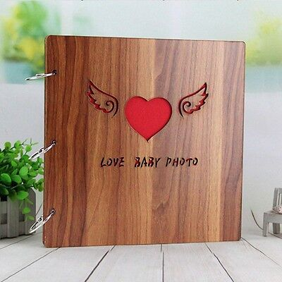 New Photo Album Wood Cover 3-Ring Picture Book DIY Scrapbook/Stickers Accessory