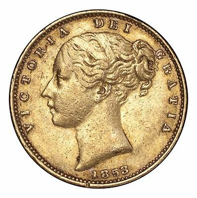 Great Britain Victoria Gold Coin 1853 Gold Sovereign Shield