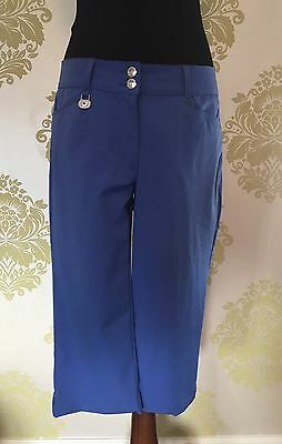 Ladies daily sport blue 3/4 length trousers, Size 12, Ladies Golf Trousers