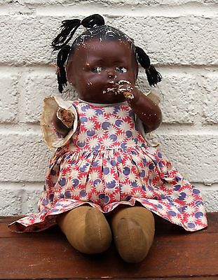 Rare Antique Black Composition Haunted Amputated Scary Toy Baby Doll Americana