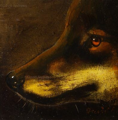 WOLF PORTRAIT : ORIGINAL OIL PAINTING : Wolves Wildlife Dogs Art David Andrews