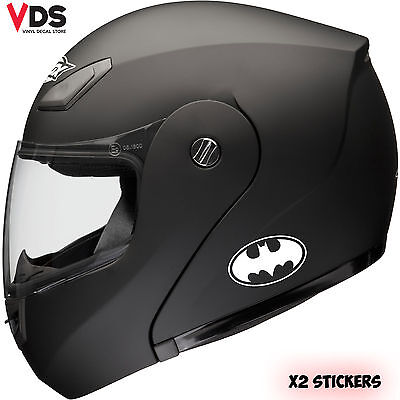 2 x BATMAN LOGO MOTOR BIKE HELMET STICKERS MOTORCYCLE VINYL DECALS White