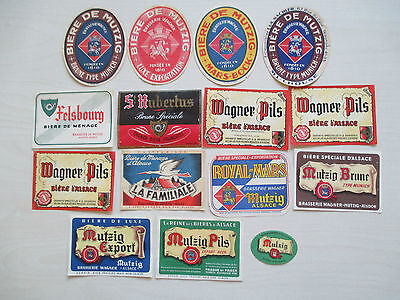 F - FRANCE - MUTZIG - BRASSERIE  WAGNER  (3) -15 diff.beerlabels