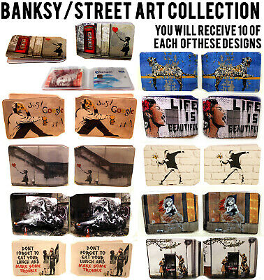 100x BANKSY / STREETART WALLETS LOT BUS PASS CREDIT TRAVEL RAIL FOR OYSTER CARD