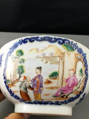 18th Antique Old Chinese Blue and White Famille Rose Bowl