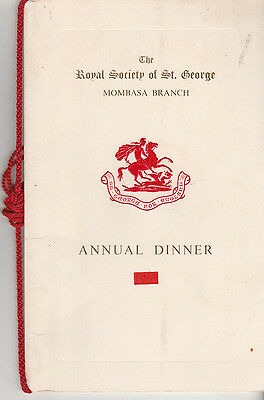 The Royal Society Of St. George Mombasa Branch Annual Dinner At Oceanic 1964