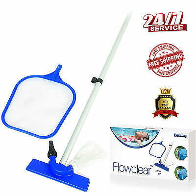 Swimming Pool Maintenance Kit Clean Wall Floor Water Vacuum Skimmer Net Pole