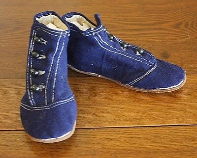 Antique Countess Button Up Victorian - 1900 Wool Vtg Navy Blue Childrens Shoes