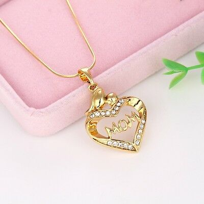 "Mom Gift Women Pendant 18k Yellow Gold Filled Necklace 18"" Hot Link"