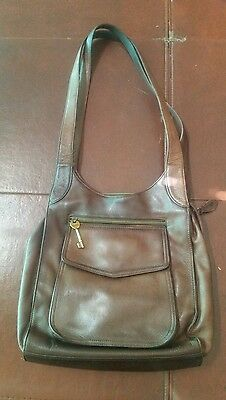 Fossil Pebbled Brown Leather Satchel Shoulder Purse # 75082 Vintage