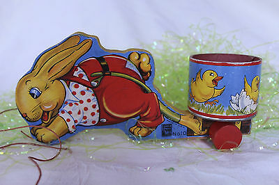 Vintage Fisher Price No. 10 Easter Bunny Pulling Round Cart w/Baby Chicks