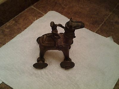 ANTIQUE Temple India  BRASS  TOY CAMEL ON WHEELS WITH RIDER/ NICE TOY/  RARE