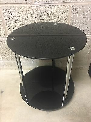 Black Glass & Chrome Small Coffee Side Table With Locking Wheels