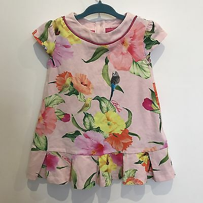 Ted Baker Pink Floral Summer Cotton Dress 9-12 Months Baby Girls