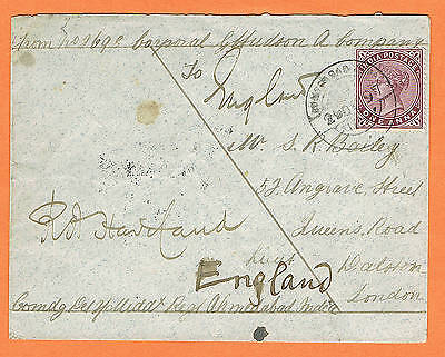 India 1897 cover for Soldier's Letter Middlesex Regiment to England