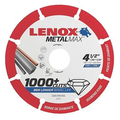 "LENOX 1972921 4.5"" x 7/8"" Arbor MetalMax Diamond Edge Metal Cutoff Wheel"