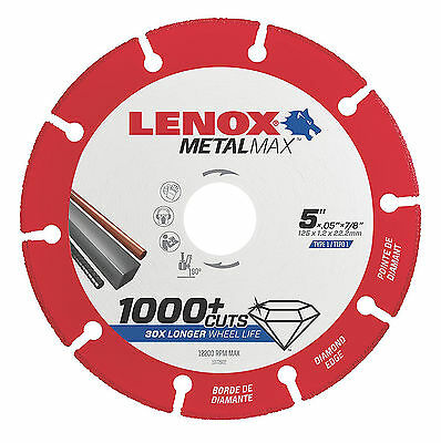 "LENOX 1972922 5"" x 7/8"" Arbor MetalMax Diamond Edge Metal Cutoff Wheel"