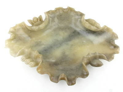 Antique Chinese carved soapstone lotus leaf form, Scholar's brush wash dish