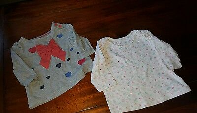 Baby Girls 0-3 Months Long Sleeved Tops M&Co and M&S (A314)