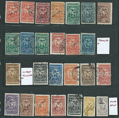 ECUADOR 1880s FISCAL STAMPS USED FOR POSTAGE NICE LOT USED MH 2 SCANS GOOD LOT!