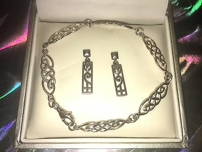 925 Silver Matching Celtic Bracelet And Earrings Set In Box