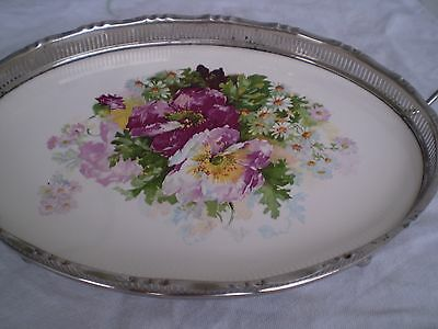 Vintage porcelain metal oval platter serving tray FLOWERS