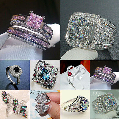 925 Silver Jewelry Woman White Topaz Pink Sapphire Wedding Ring Gift Size 6-10