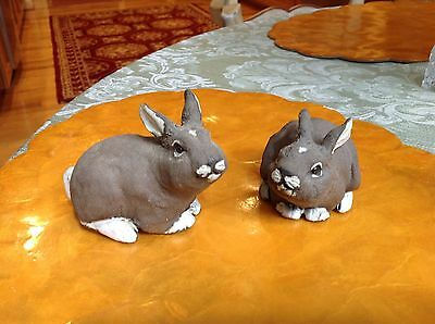 Pair of hand made pottery baby bunnies by Bonnie Day