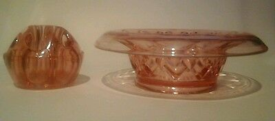 Art Deco Pressed  Glass Small Pink Dish Bowl With Flower Holder Gb Rd 830998