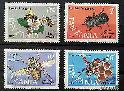 Tanzania - 1987 - Insects - Lot Of 4 Used