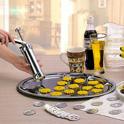 Stainless Steel Non-Stick Cookie Press Set Include 22 Shapes & 4 Decorating Tips