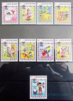 Caicos Is.1983 Xmas Disney Cartoon Characters Mnh Set Of 9 **see Scans**