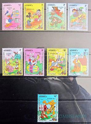 Dominica 1984 Easter Disney Characters  Mnh Set Of 9 **see Scans**