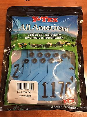 New Y-Tex BLUE MEDIUM Number Cow SIZE Ear tags NUMBERS 176 THRU 200