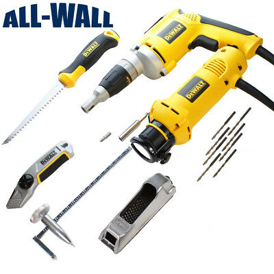 DeWalt Drywall Hanger's Tool Set w/Screw Gun, Router, Jabsaw, Rasp, Tape, Extras
