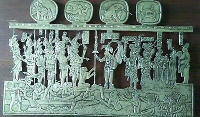 Vintage Pewter On Wood CONQUERERS & CONQUERED warriors  Wall Plaque 8 × 11