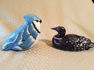 Vintage Blue Jay Candle (Stone Candles) And Loon Candle