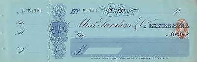 Mess Sanders & Co Exeter Bank  - Unused Old Cheque 1880's