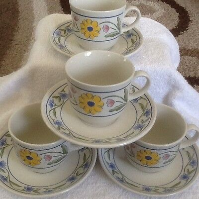Staffordshire cups and saucers, set 4 excellent condition