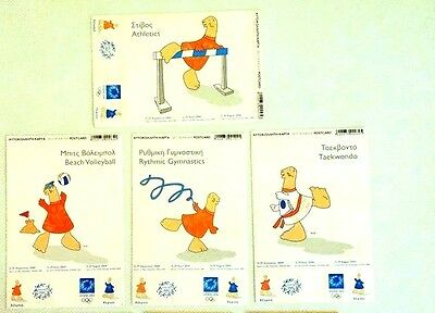 Athens 2004 Olympic Sticker Cards Autograph signed!!!!!!