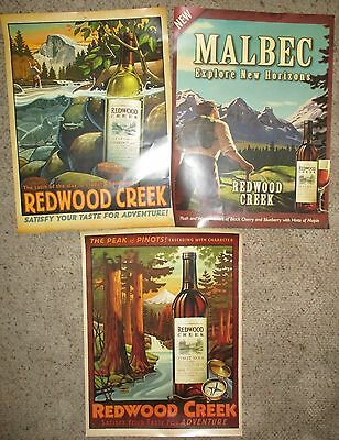 Vintage Redwood Creek Wine Cocktails Kitchen Bar Wall Posters Lot of 3