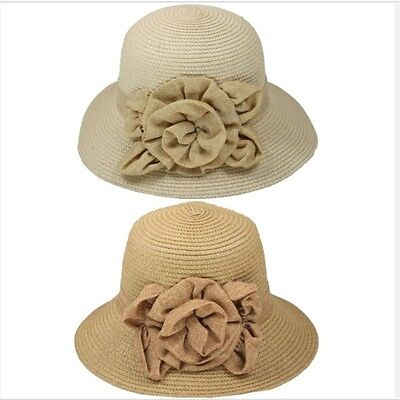 WOW+GIFT! Lady Women Vacation Summer Beach Sun Floppy Wide Brim Floral Straw Hat