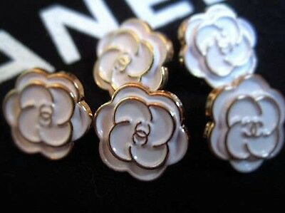 Lot of 5 Chanel White Enamel metal buttons, 13mm