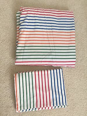Single Bed Deep Fitted Sheet White / Coloured Stripes By Next Match Pillow Case