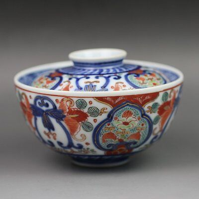 Antique Chinese Porcelain Rice Bowl & Lid