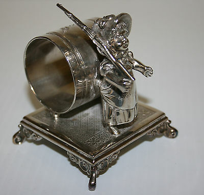 Victorian Silver Plated Napkin Ring Greenaway Girl Holding Toy Rifle Simpson Hal