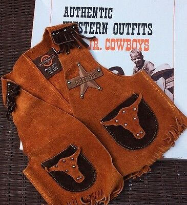 JOHN R CRAIGHEAD CO. Children's Genuine Suede Leather Western Sheriff Vest S