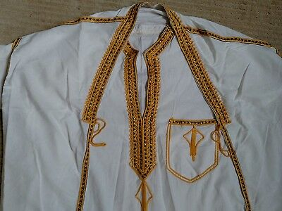 Men's white thobe and bisht with gold trim