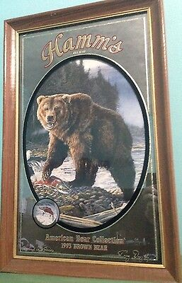 Vintage Hamm's Beer American Bear Collection 1993 Brown Bear Mirror sign Mancave